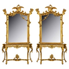 Pair of Italian Mid-19th Century Giltwood Consoles with Matching Mirrors