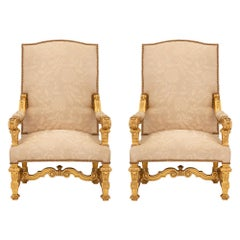 Pair of Italian Mid-19th Century Louis XIV St. Giltwood Armchairs