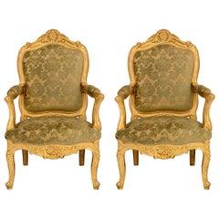 Pair of Italian Mid-19th Century Louis XVI Style Giltwood Armchairs