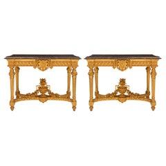 Pair of Italian Mid-19th Century Louis XVI Style Giltwood Freestanding Consoles