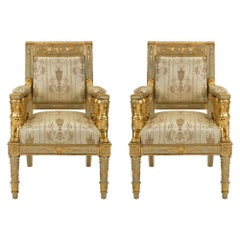 Pair of Italian Mid-19th Century Neoclassical Style Armchairs