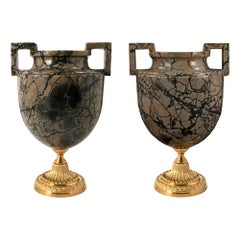 Pair of Italian Mid-19th Century Neoclassical Style Marble and Ormolu Urns