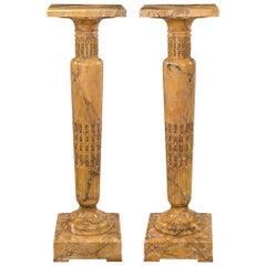 Pair of Italian Mid-19th Century Sienna Marble & Ormolu Mounted Pedestal Columns