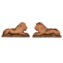 Pair of Italian Mid-19th Century Terracotta Lions