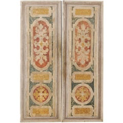 A Pair of Italian Mid-20th Century Decoratively Painted Wood Doors