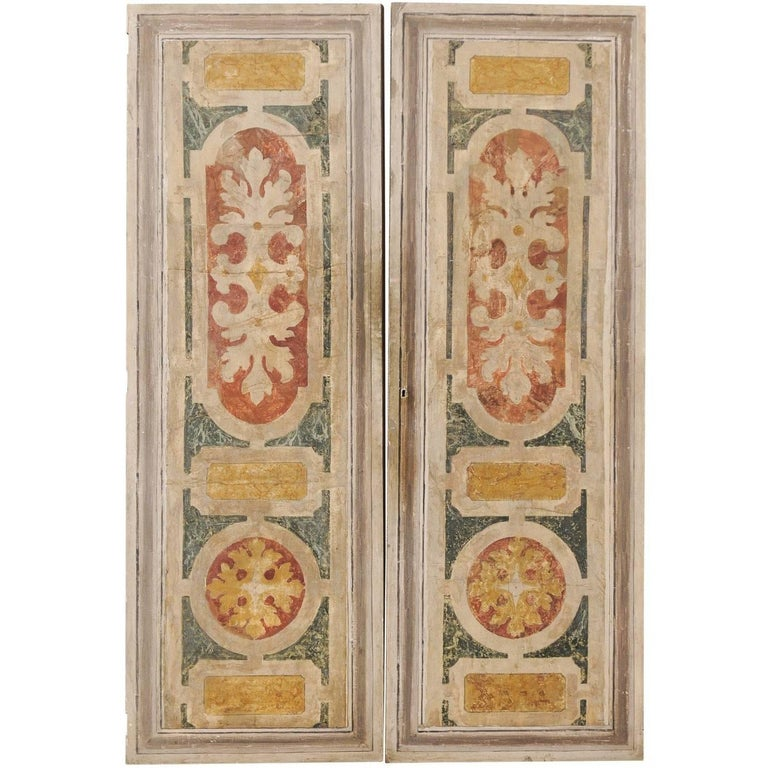 Pair of Italian Mid-20th Century Vintage Colorfully Painted Painted Doors