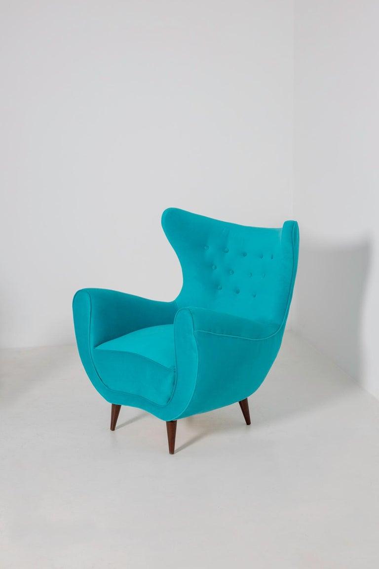 Pair of Italian Midcentury Armchair in Light Blue Velvet, 1950s In Good Condition For Sale In Milano, IT
