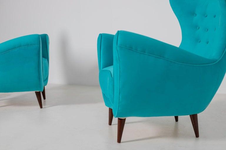 Mid-20th Century Pair of Italian Midcentury Armchair in Light Blue Velvet, 1950s For Sale