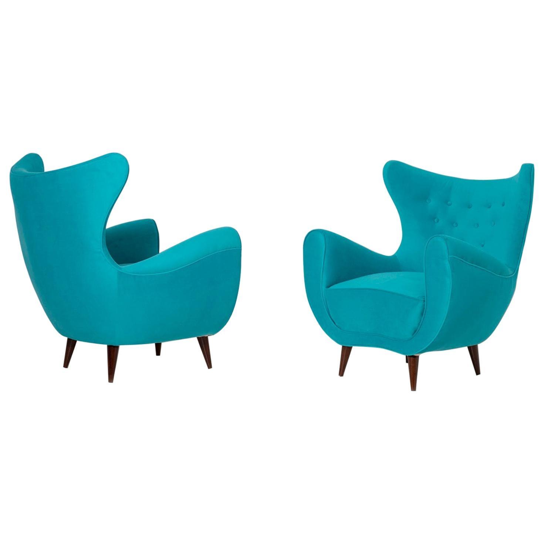 Pair of Italian Midcentury Armchair in Light Blue Velvet, 1950s