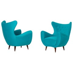 Pair of Italian Midcentury Armchair in Light Blue Velvet, 1950s