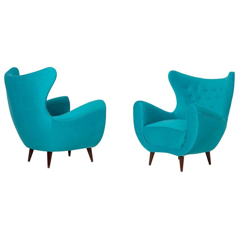 Pair of Italian Midcentury Armchair in Light Blue Velvet, 1950s For Sale