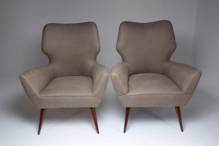 Mid-Century Modern Pair of Italian Midcentury Armchairs, 1950s   For Sale
