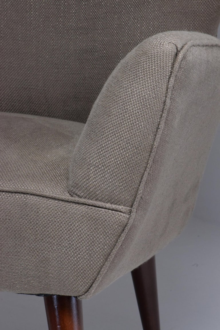 Upholstery Pair of Italian Midcentury Armchairs, 1950s   For Sale