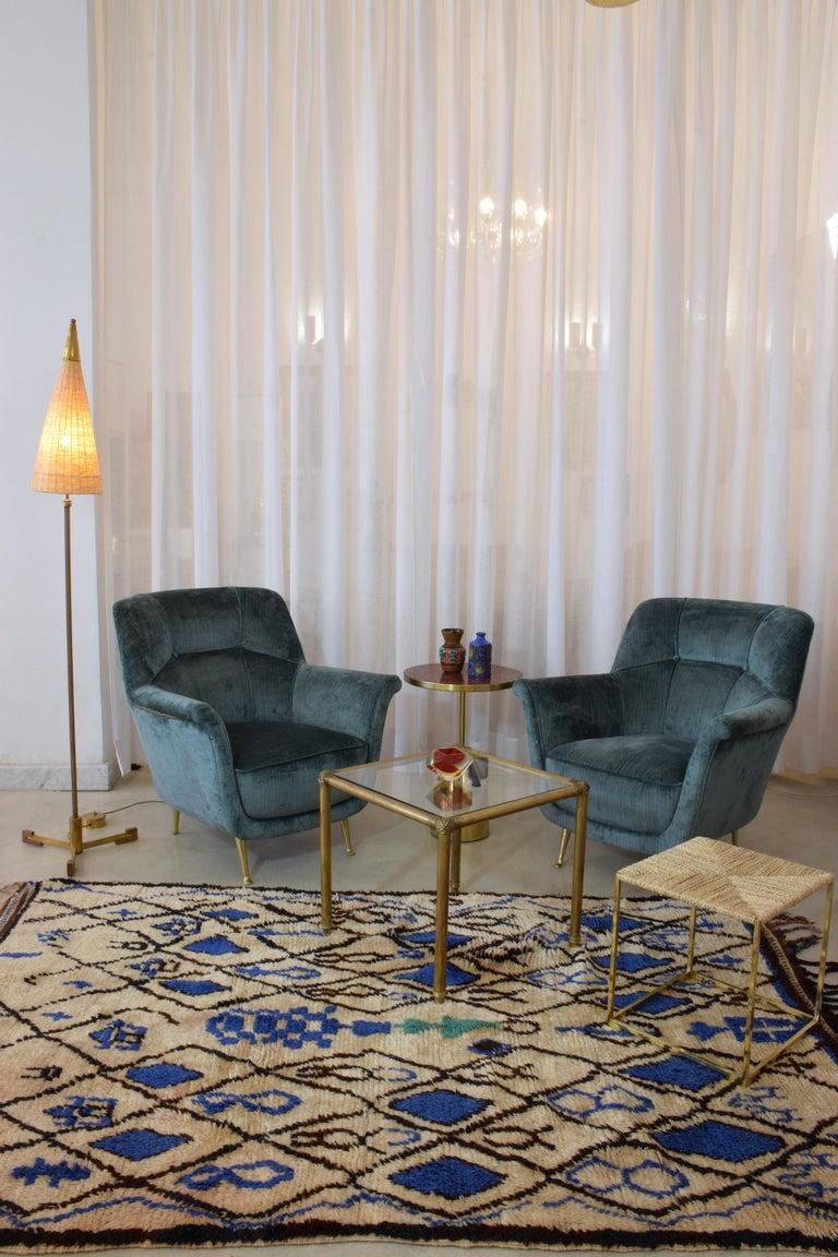 Mid-Century Modern Pair of Italian Midcentury Armchairs by ISA Bergamo, 1950s For Sale