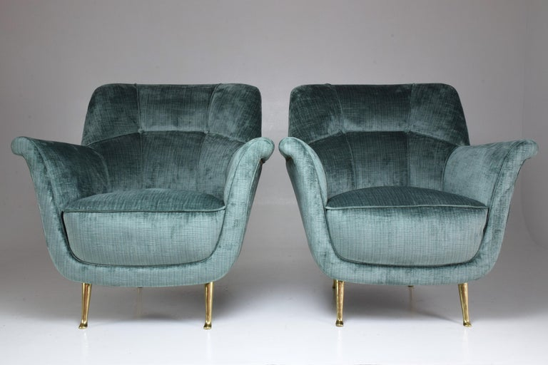 Brass Pair of Italian Midcentury Armchairs by ISA Bergamo, 1950s For Sale