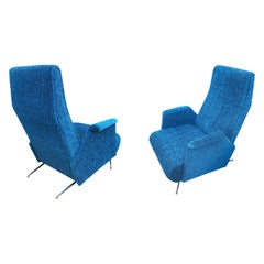 Pair of Italian Midcentury Armchairs in the Manner of Carlo Mollino