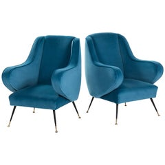 Pair of Italian Midcentury Armchairs Re-Upholsterd in Turquoise Colored Velvet
