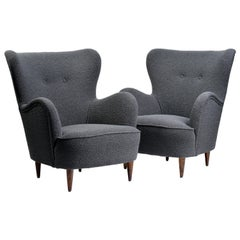 Pair of Italian Midcentury Armchairs Upholstered in Nobilis Fabric