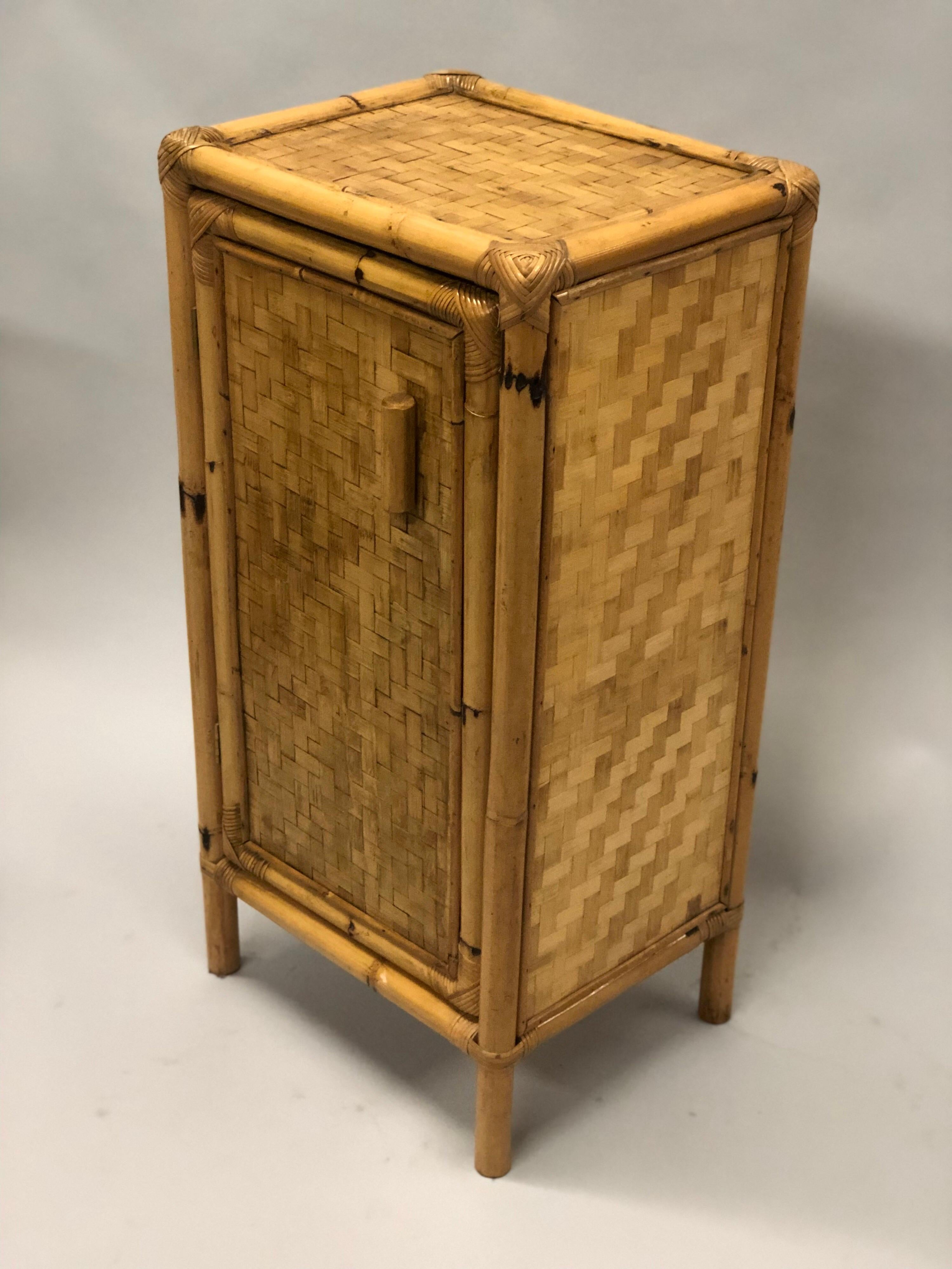 Pair Of Italian Midcentury Bamboo And Rattan Nightstands Or Side Tables For Sale At 1stdibs