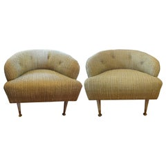 Pair of Italian Midcentury Barrel Lounge Chairs