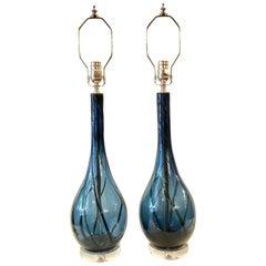 Pair of Italian Midcentury Blown Glass Lamps