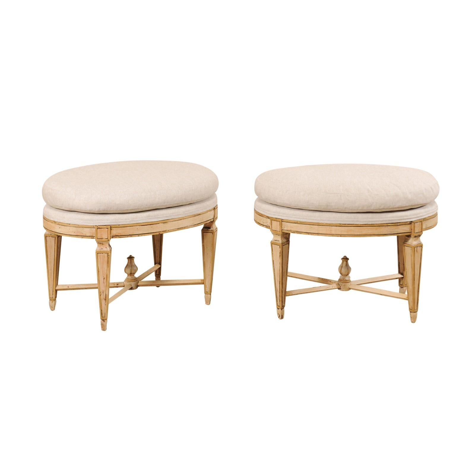 Pair of Italian Mid-Century Carved Wood Stools with Oval Shape