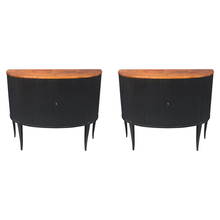 Pair of Italian Midcentury Demi-Lune Cabinets For Sale
