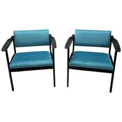 Pair of Italian Midcentury Ebonized Armchairs Upholstered in Teal Velvet