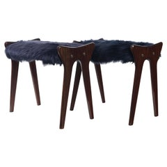 Pair of Italian Midcentury Fur Stools in Mahogany