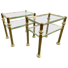 Pair of Italian Midcentury Heavy Brass and Glass Side Tables