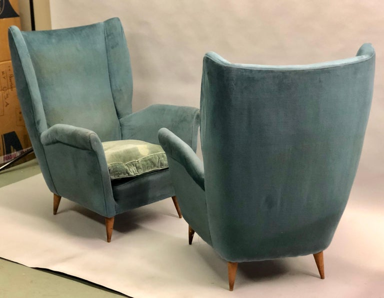 Mid-Century Modern Pair of Italian Midcentury Hi Back Lounge Chairs / Armchairs by Gio Ponti, 1955 For Sale