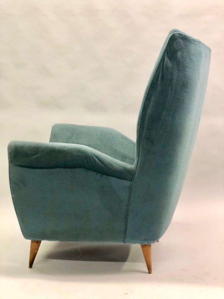 Upholstery Pair of Italian Midcentury Hi Back Lounge Chairs / Armchairs by Gio Ponti, 1955 For Sale