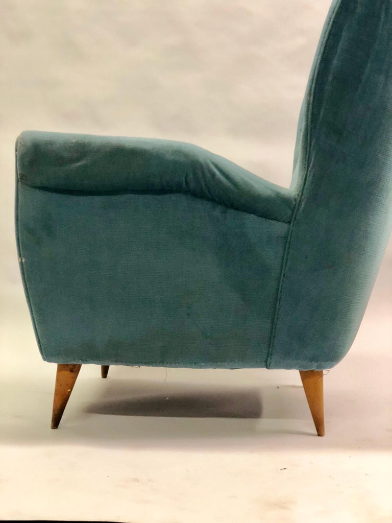 Pair of Italian Midcentury Hi Back Lounge Chairs / Armchairs by Gio Ponti, 1955 For Sale 2