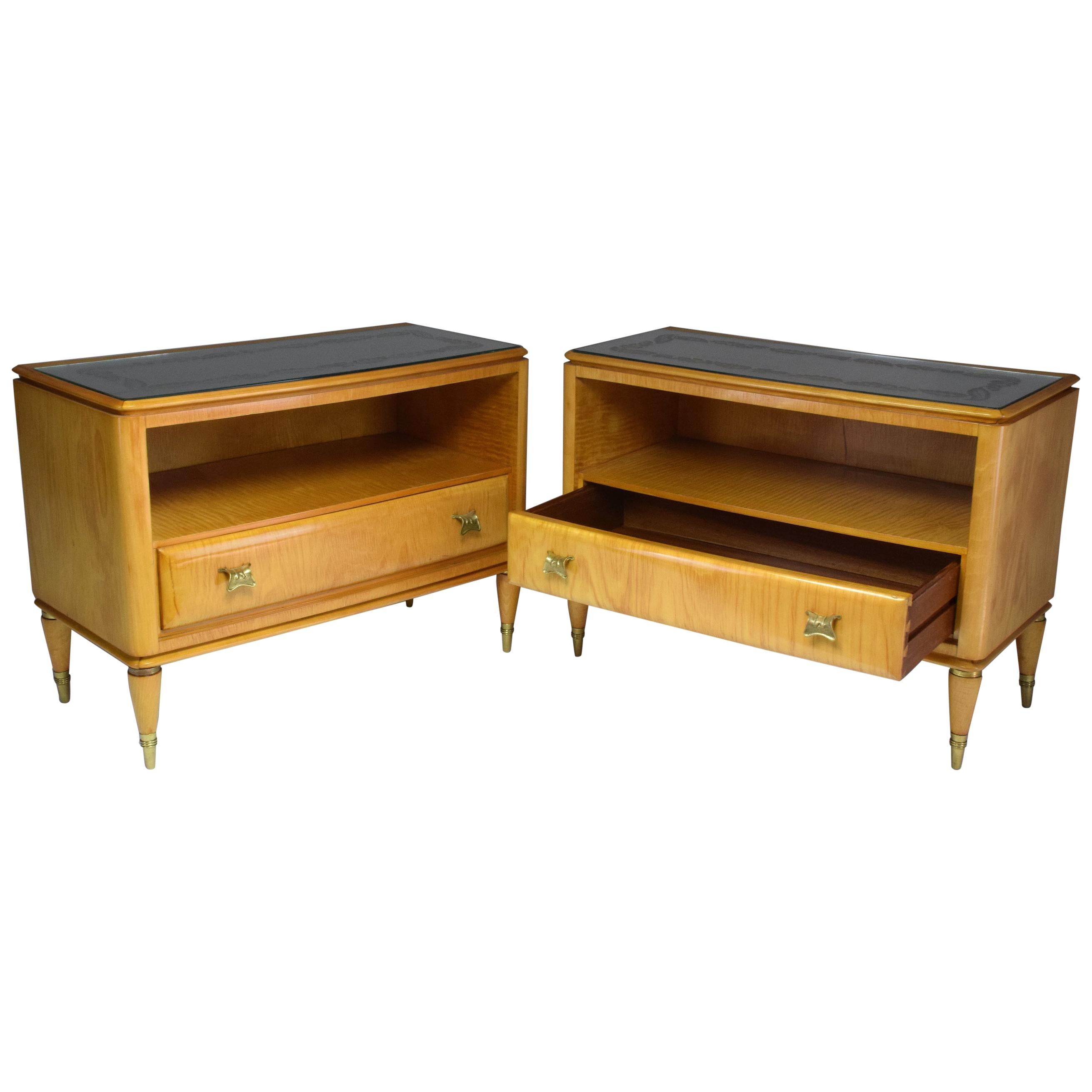 Pair of Italian Midcentury Maple Wood Nightstands, 1940s