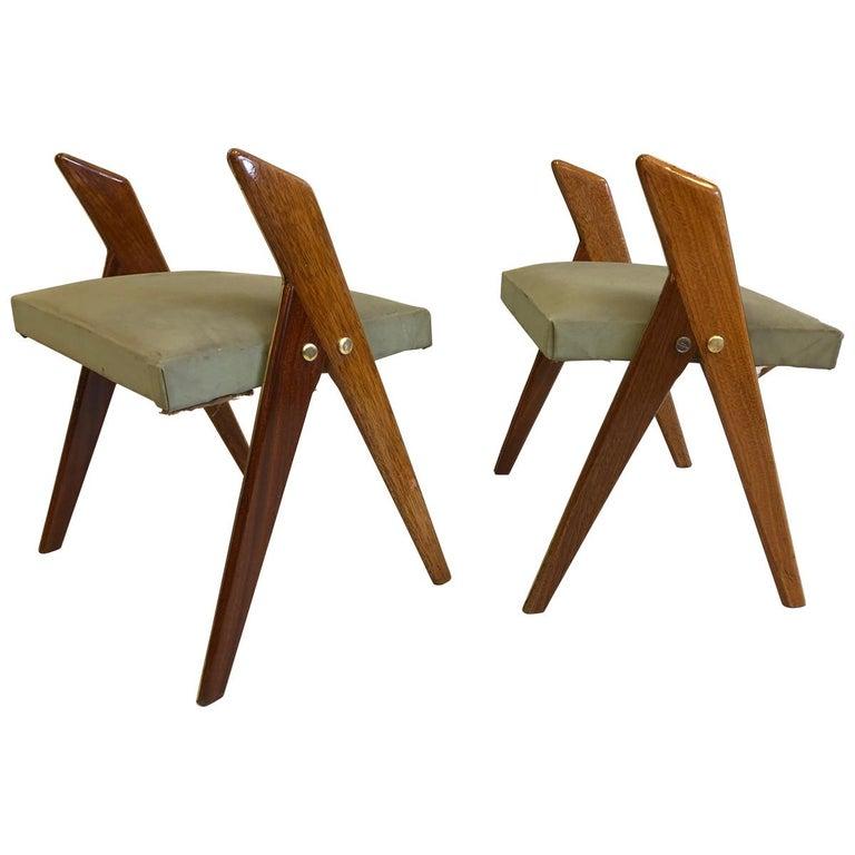 Pair of Italian Mid-Century Modern Benches or Stools, Osvaldo Borsani Attributed For Sale