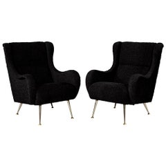 Pair of Italian Mid-Century Modern Black Lounge Chairs in the Style of Zanuso