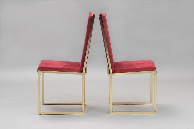 Mid-Century Modern Pair of Italian mid-century modern brass chairs For Sale