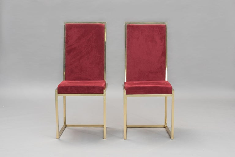 Pair of Italian mid-century modern brass chairs In Good Condition For Sale In Porto, PT