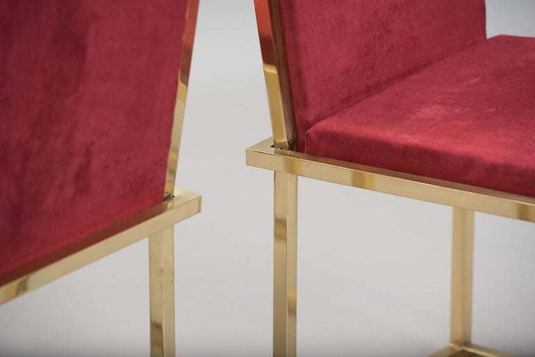 Late 20th Century Pair of Italian mid-century modern brass chairs For Sale