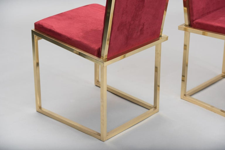 Pair of Italian mid-century modern brass chairs For Sale 1
