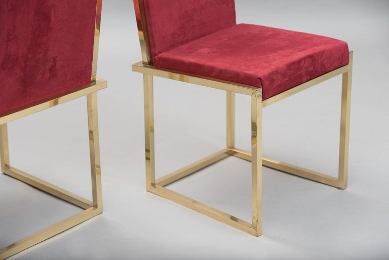 Pair of Italian mid-century modern brass chairs For Sale 2