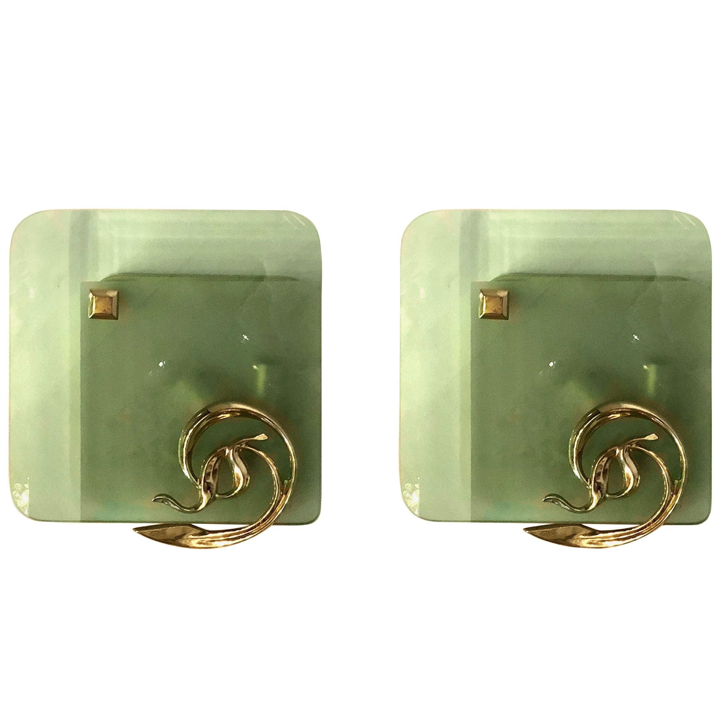 Pair of Italian Mid-Century Modern Brass/Glass Sconces, Fontana Arte Style 1960s