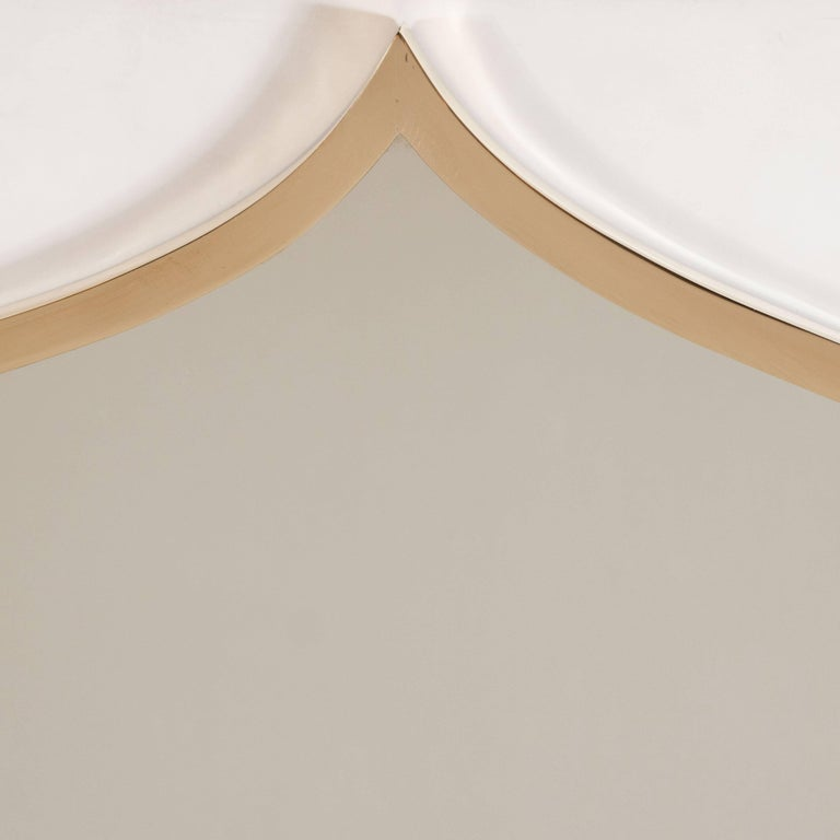 Pair of Italian Mid-Century Modern Brass Mirrors with Bell Shaped Cupola Motif For Sale 1
