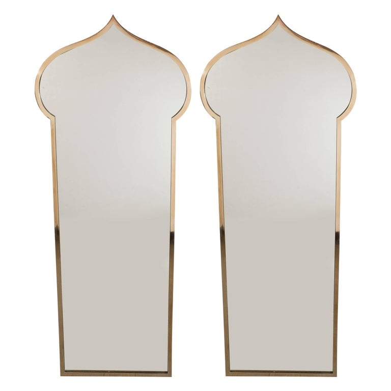 Pair of Italian Mid-Century Modern Brass Mirrors with Bell Shaped Cupola Motif