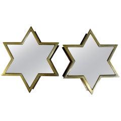 Pair of Italian Mid-Century Modern Brass Star Shaped Mirrors