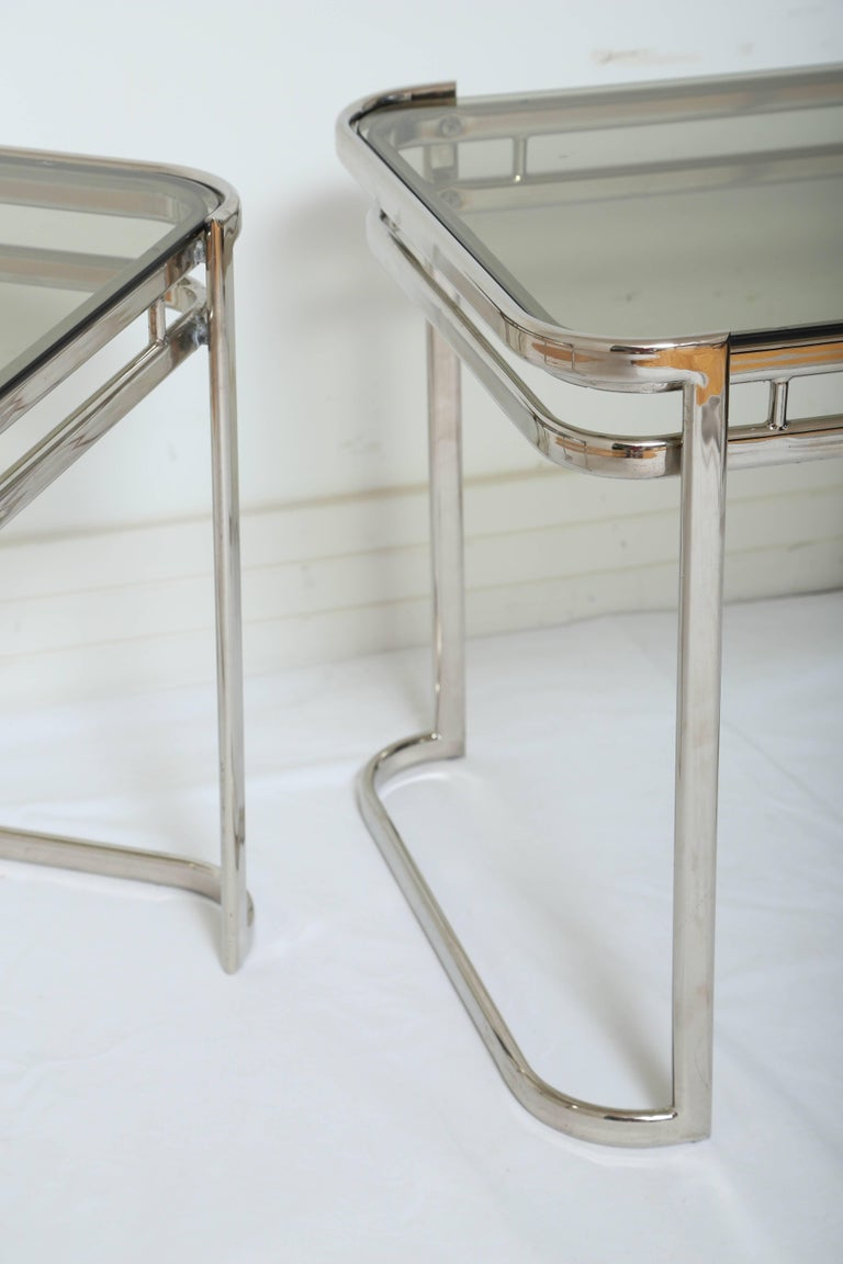 Pair of Italian Mid-Century Modern Chrome Side Tables For Sale 4