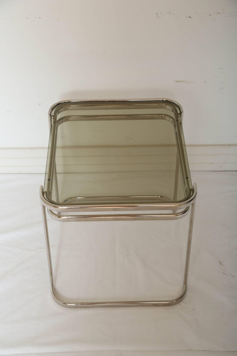 Pair of Italian Mid-Century Modern Chrome Side Tables For Sale 5