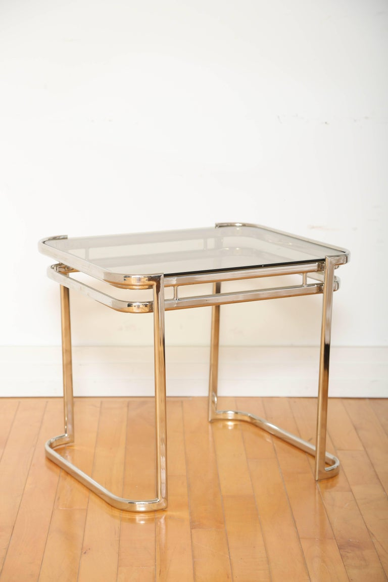 Polished Pair of Italian Mid-Century Modern Chrome Side Tables For Sale