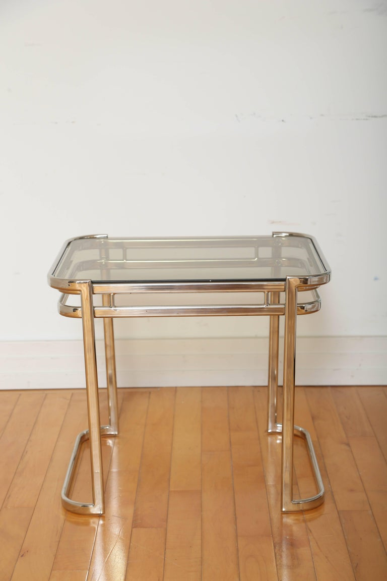 Pair of Italian Mid-Century Modern Chrome Side Tables In Excellent Condition For Sale In Stamford, CT