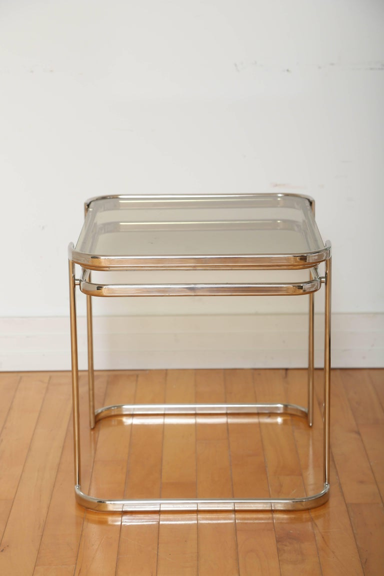 Late 20th Century Pair of Italian Mid-Century Modern Chrome Side Tables For Sale